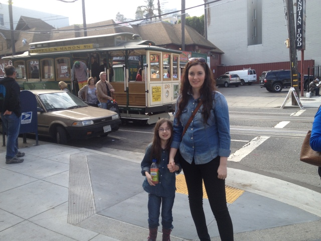 Eve & Heather in front of one of San Francisco's famous cable cars