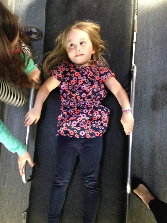 Charlotte on the stretcher