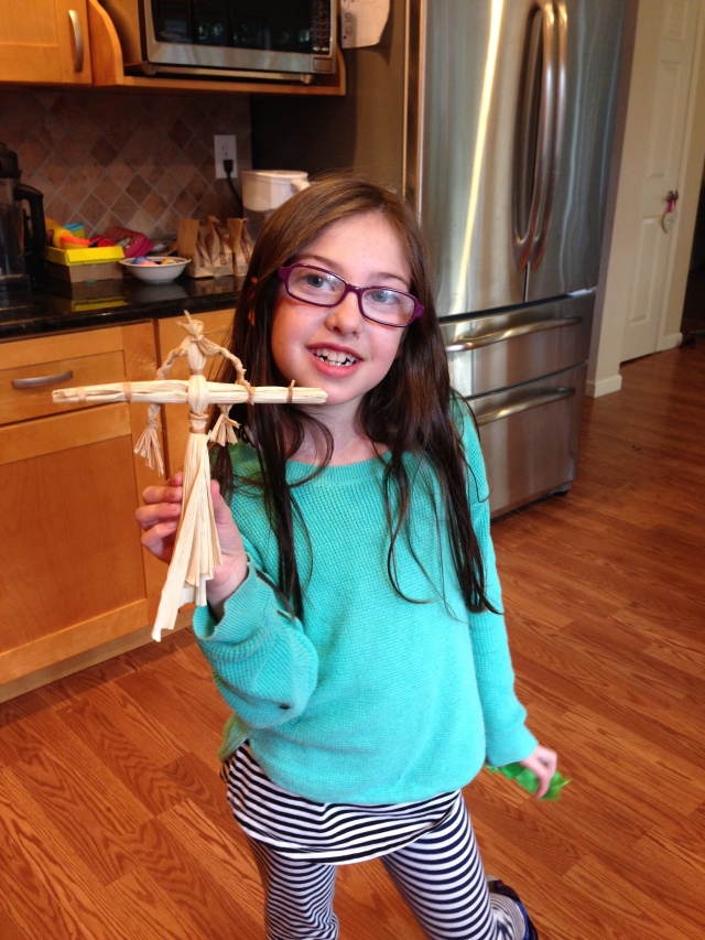 Eve made this doll at the discovery museum